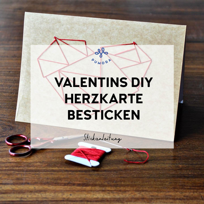 Valentinstag DIY Herzkarte besticken