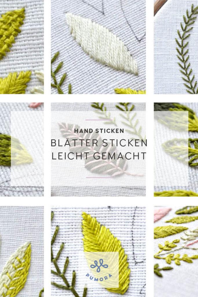 Blätter sticken - Stickanleitung