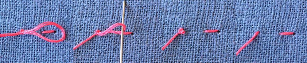 Knoten lösen beim Sticken