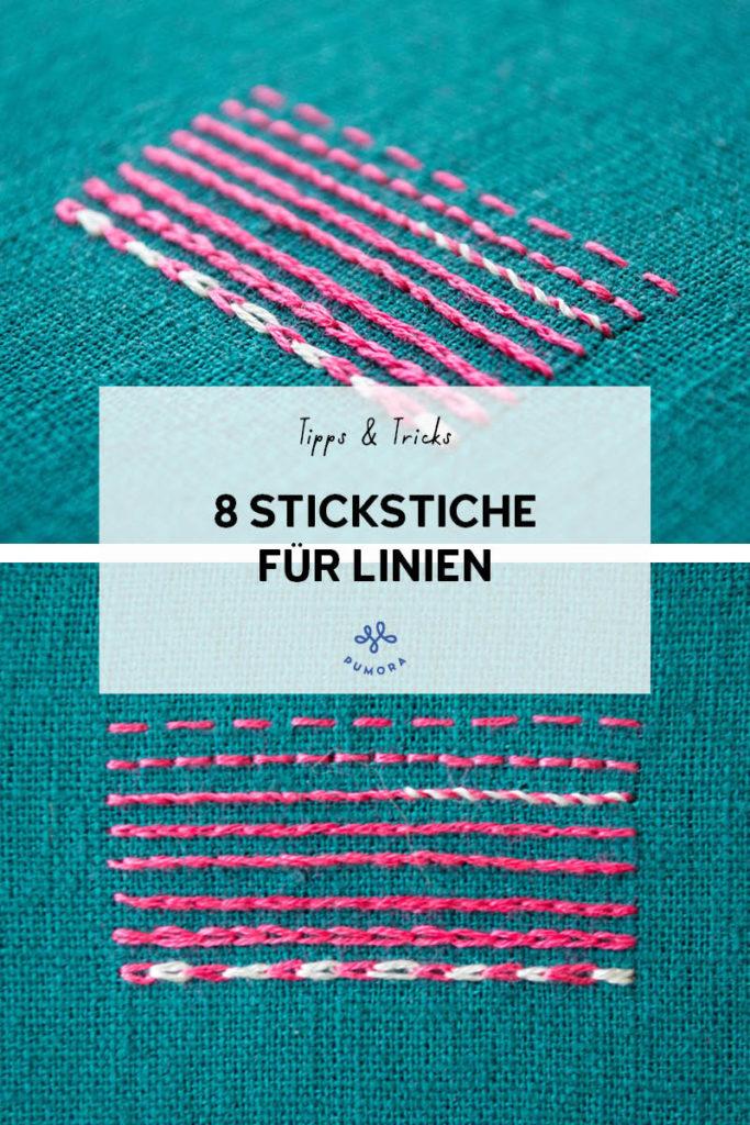 8 Stickstiche für Linien