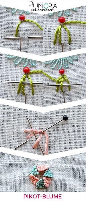 Pikotstich-Blume sticken