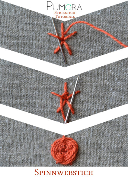 Spinnwebstich sticken Tutorial von Pumora