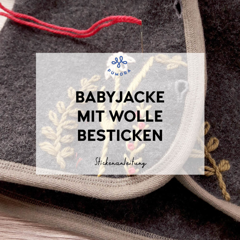 kostenlose Stickanleitung Babyjacke mit Wolle besticken
