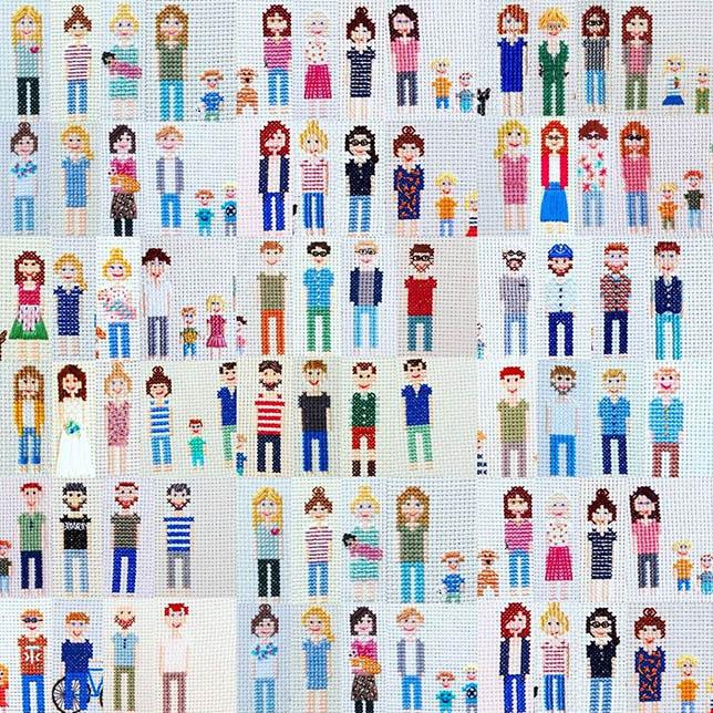 gestickte Familienportraits von Sonntagskreativität