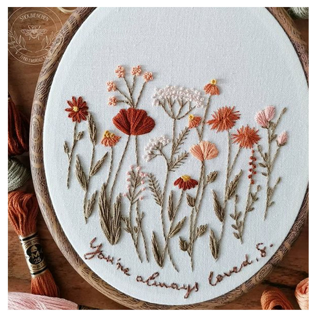 Blumenwiese Stickerei von Stickbienchen