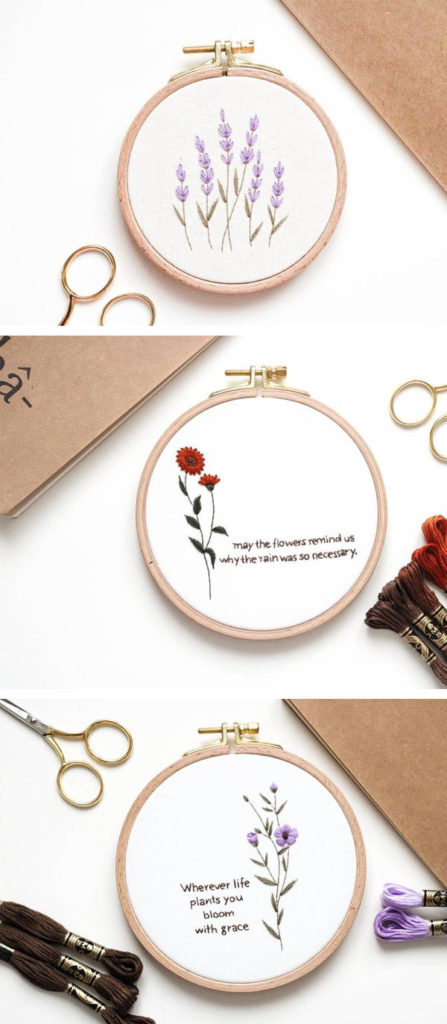 Stickbilder mit Blumen von Stickbienchen