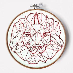 Geometrischer Löwe Stickanleitung für Anfänger