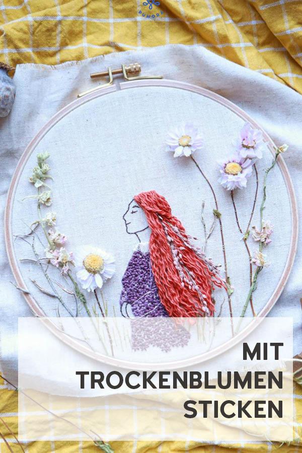 DIY mit Trockenblumen sticken